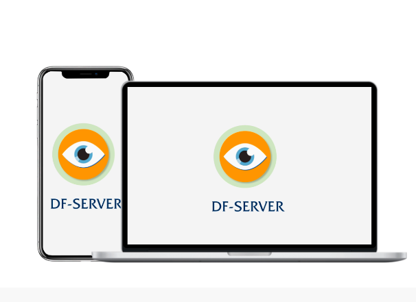 Portátil y móvil con logotipo df server